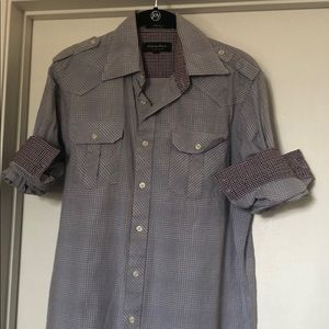 Men's long sleeve button up military style grey
